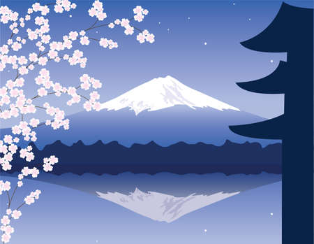 temple mount: vector Mount Fuji and branches of sakura Illustration