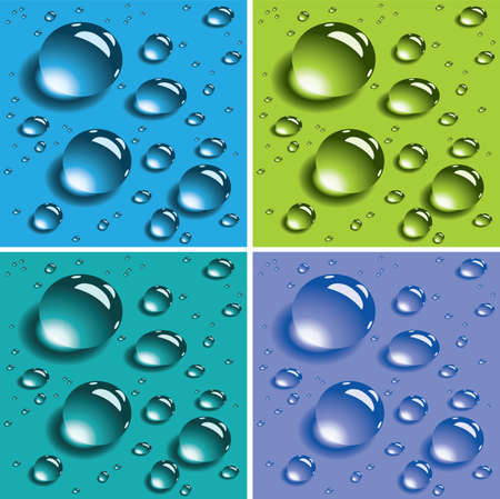 water drops: vector set of colorful water drops