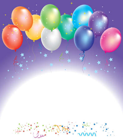 balloon border: colorful balloons with confetti