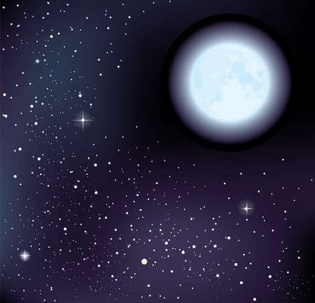 cielo estrellado: cielo estrellado y la luna.