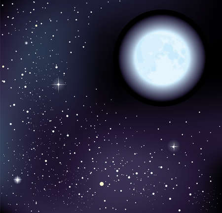 moon light: starry sky and moon.