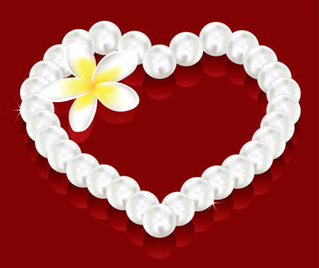 bead jewelry: vector valentines day gifts - pearl beads, flower and greeting card