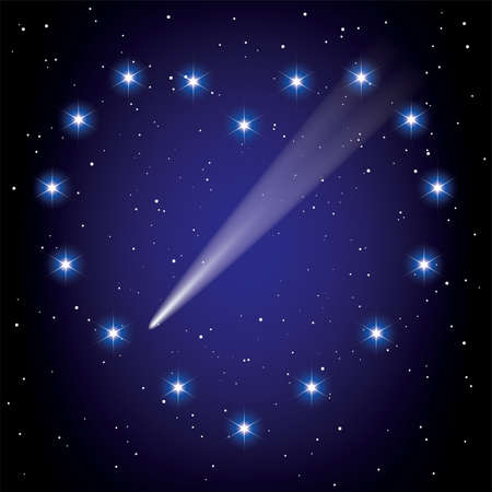 stars in space in the shape of heart and comet flying through it Vector