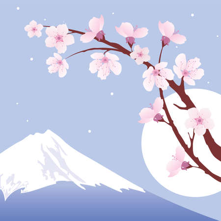 Mount Fuji, moon and branches of sakura (cherry)