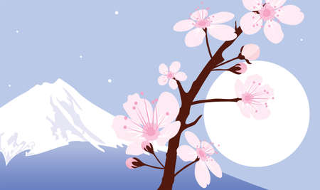 Mount Fuji, moon and branches of sakura (cherry) Stock Vector - 12480099