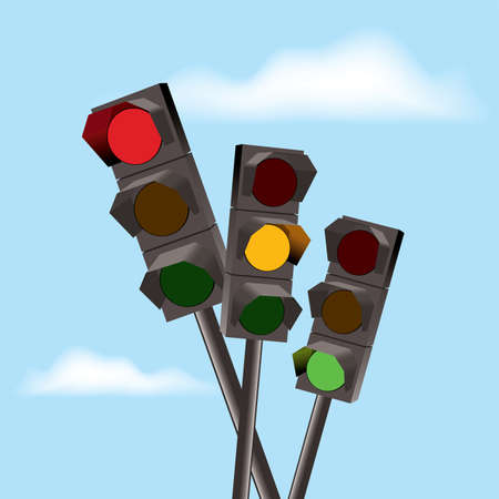 traffic accident: Chaotically standing traffic lights with red, yellow and green color