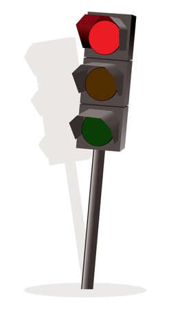 amber light: Traffic lights with red color Illustration
