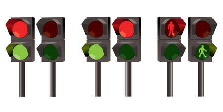 Set of traffic lights for pedestrians Vector