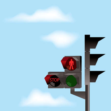 Traffic lights with red color and blue sky with clouds Vector