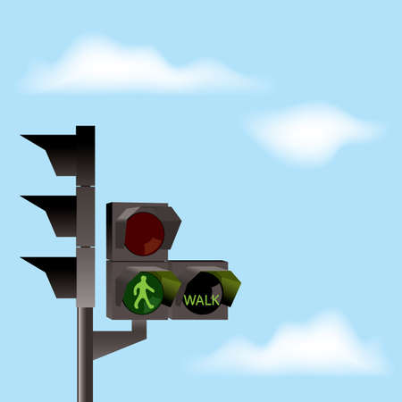 Traffic lights with green color and blue sky with clouds Vector