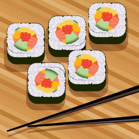 sushi restaurant: vector sushi on bamboo mat and chopsticks