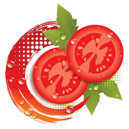 vector abstract background with fresh tomatoes Vector