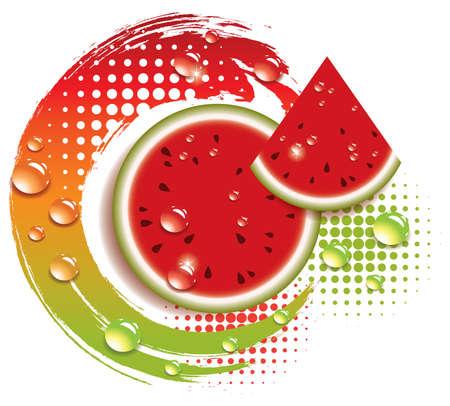 orange cut: Resumen de vectores de fondo con sand�a fresca Vectores
