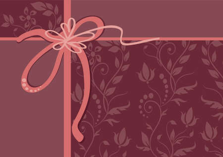 greeting card with stylized flower, ribbon and ornament Vector