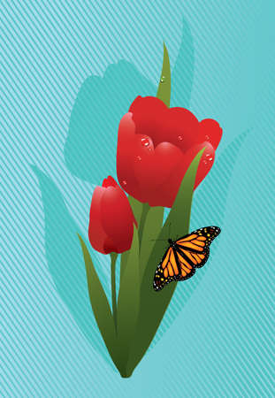red tulips and a butterfly Vector