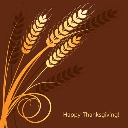vector fall background with wheat ears Vector