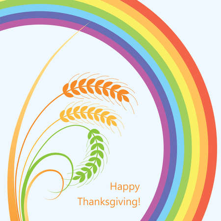 fall harvest: vector fall background with wheat ears and rainbow
