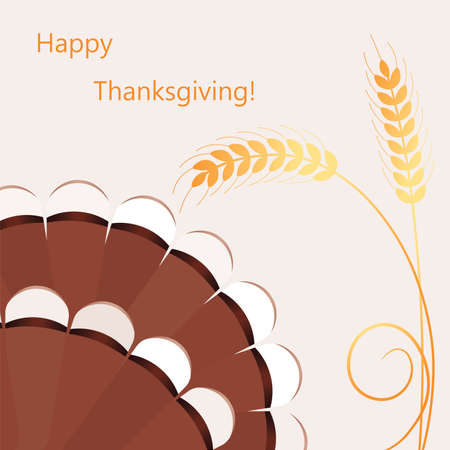 vector thanksgiving day background with turkey's tail and wheat ears Stock Vector - 16003542