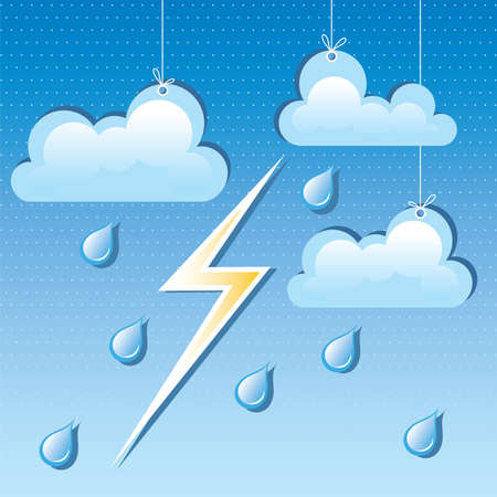 vector cloud, rain drops and lightning in the sky Stock Vector - 16003550