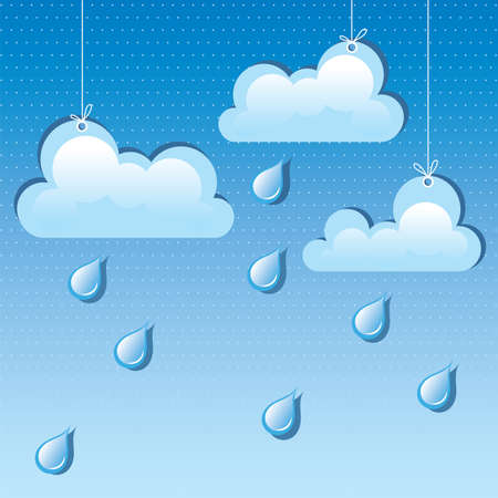 vector cloud and rain drops in the sky Stock Vector - 16003549