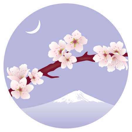 branch of sakura (cherry) and Mount Fuji Vector