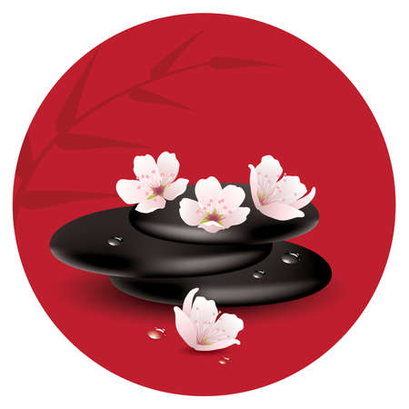 meditation stones: zen stones and cherry flowers