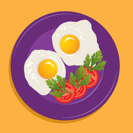 vector plate with fried eggs and vegetables Vector