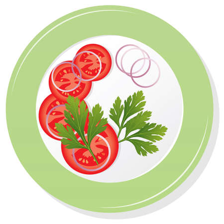 vector plate with sliced tomatoes, parsley and onion Vector