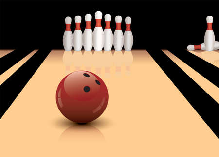 sphere standing: bowling ball ready to hit pins Illustration