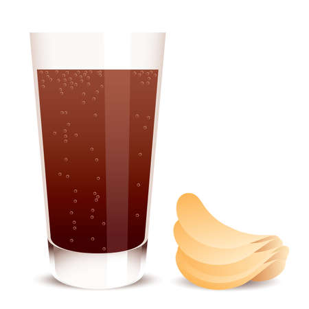 soft drink:  glass of cola and potato chips
