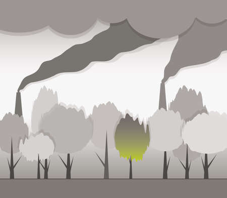 smoke from chimneys and contaminated environment Vector
