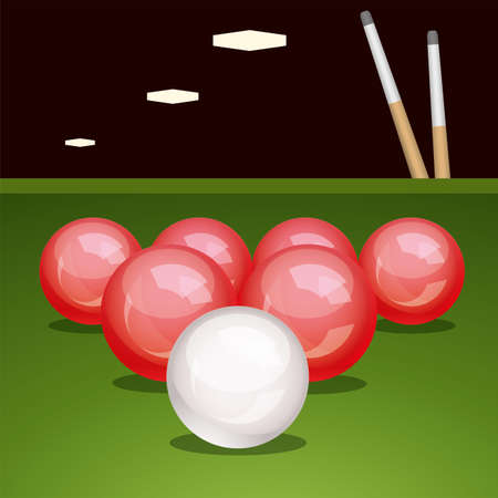 cues: vector billirad table with balls and cues