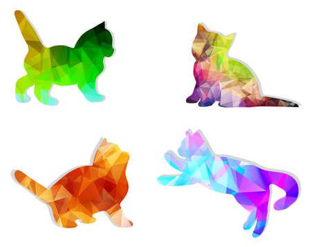 silueta de gato: siluetas vector de mosaico de los gatos