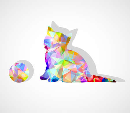 vector mosaic silhouette of kitten playing with ball Vector