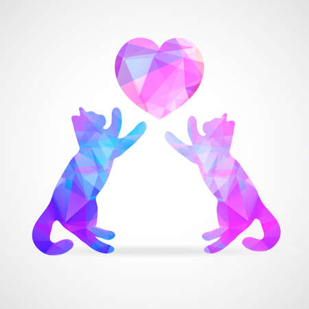 vector mosaic silhouettes of loving couple of cats Vector