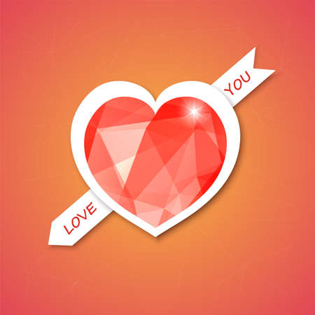 heart illustration   with triangular diamond mosaic, abstract design for Valentines day.   Vector