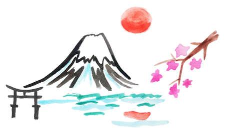 mount fuji: watercolor illustration of mount Fuji and sakura in Japan, vector