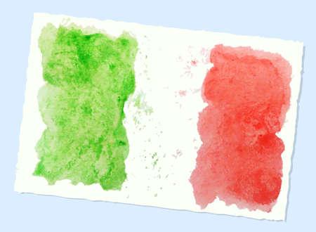 bandera italiana: bandera de la acuarela abstracta de Italia, vector