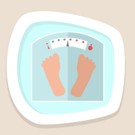 weight: Weight scale icon in flat style. Vector illustration Illustration