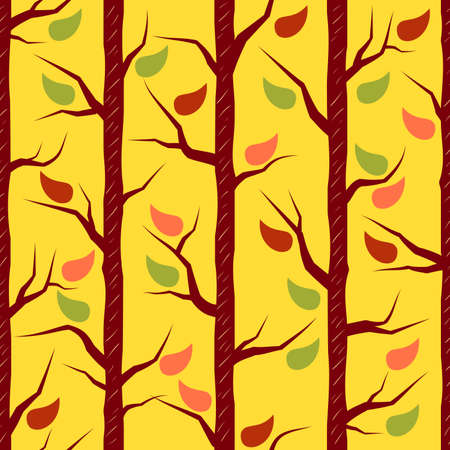 fall trees: Fall trees with colorful leaves. Vector seamless pattern Illustration