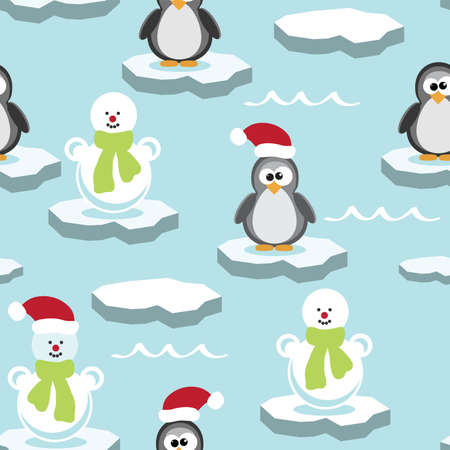 Vector seamless pattern with penguin and snowman on ice floe Illustration