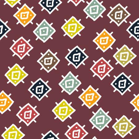 Vector de fondo abstracto con patrones de rombos de colores africanos sin fisuras. textura tribal geométrica Foto de archivo - 80444399