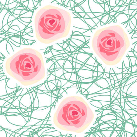 Vector seamless floral background with abstract roses and chaotic squiggly lines