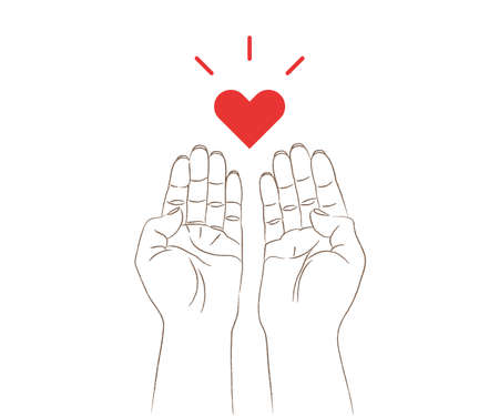 Both hands and heart Illustration