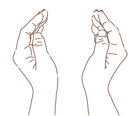 a line drawing wrapped in both hands
