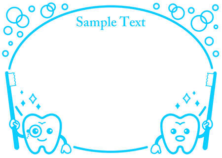 Cute decorative frame of tooth character with toothbrush  イラスト・ベクター素材