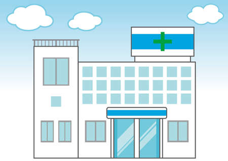 A simple hospital illustration with blue sky and clouds in the background Stock Illustratie