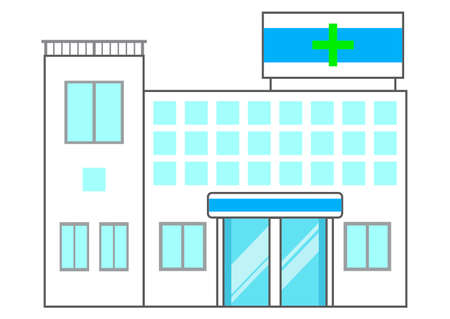 Illustration of a simple hospital building on a white background