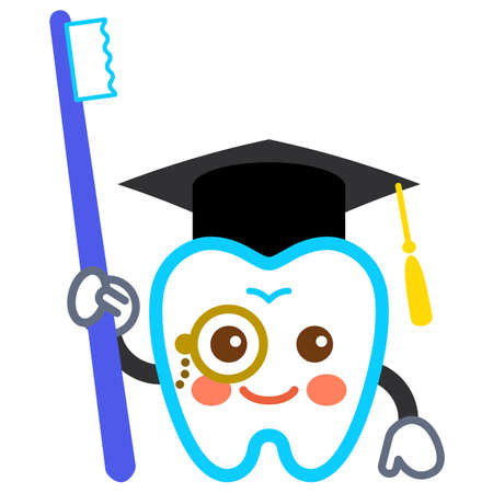 Illustration of a tooth character wearing a hat and a toothbrush