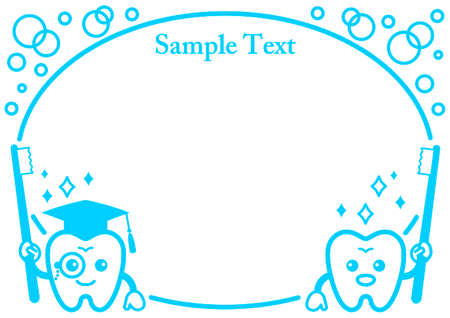 Decorative frame of a tooth character wearing a hat and glasses  イラスト・ベクター素材